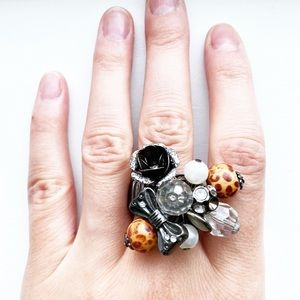 Vintage boho bead chunky bauble cluster ring